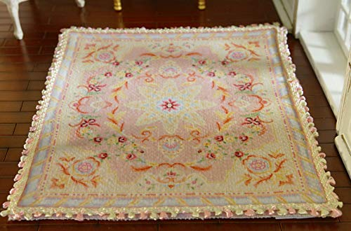 Stunning French Aubusson Design Pastel Pink Dollhouse Miniature Lace Rug (5.51 X - Stunning Pastel