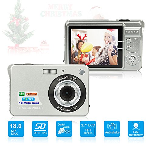 HD Mini Digital Cameras,Point and Shoot Digital Cameras for Kids Teenagers Beginners-Travel,Camping,Outdoors,School (Silver)