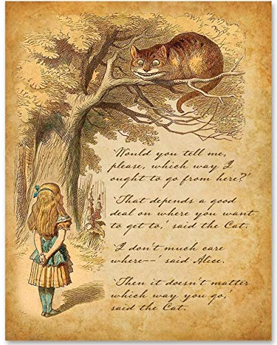 Alice in Wonderland - Alice Speaks to Cheshire Cat - 11x14 Unframed Alice in Wonderland Print- Makes a Great Gift Under $15 for Disney Fans or Kid's Room from Personalized Signs by Lone Star Art