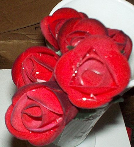 6 Handmade 1/2 Open Wooden RED Roses With BLACK Tips
