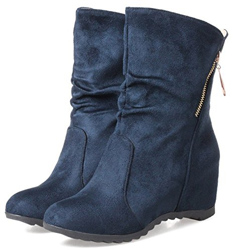 IDIFU Womens Retro Faux Suede Zip Up Mid Wedge Heel Round Toe Mid Calf Booties Blue wj6R94oiHE