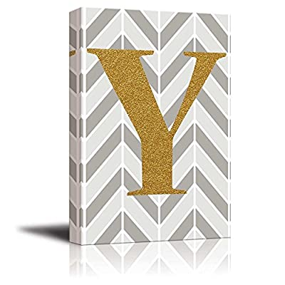 Made With Top Quality, Gorgeous Work of Art, The Letter Y in Gold Leaf Effect on Geometric Background Hip Young Art Decor