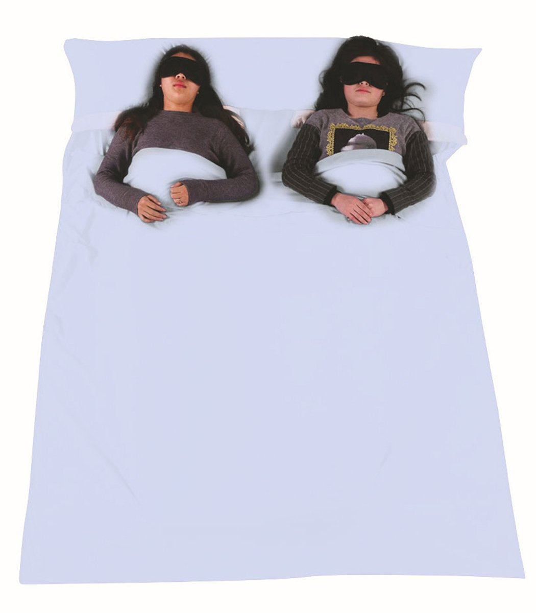 Outgeek Double Sleeping Bag Liner Lightweight 2 Person Sleep Bag Convenient for Camping Travel Hotel by Outgeek
