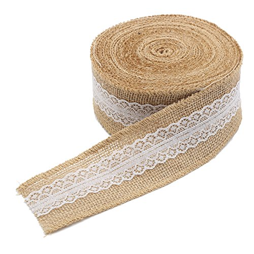 DECORA Natural Jute Burlap Ribbon Roll with White Lace Trims Tape for DIY Crafts Wedding Decoration, 393 Inch