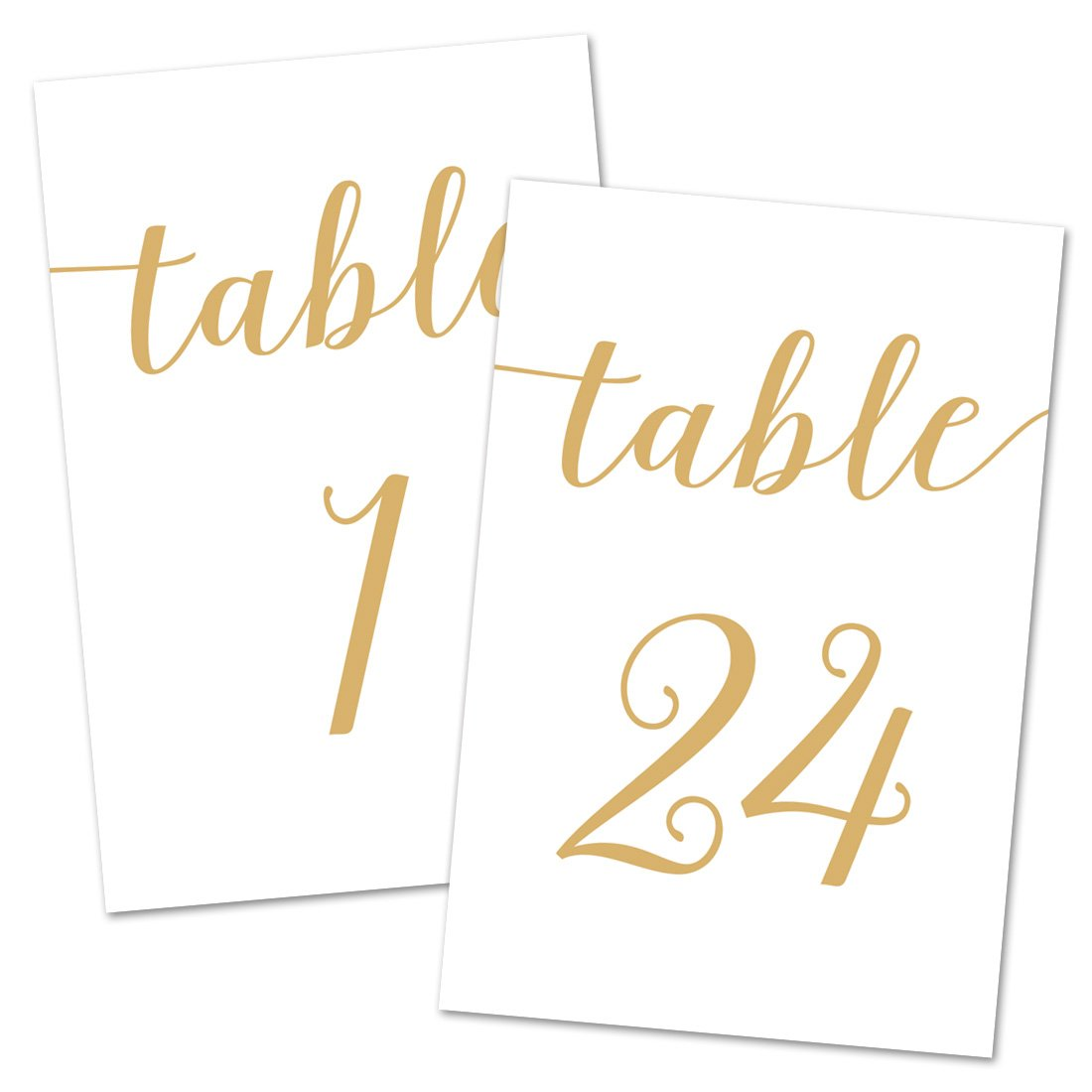 4x6 Table Number Cards 1-24 (Gold Color) - NOT GOLD FOIL MyExpression.com LLC