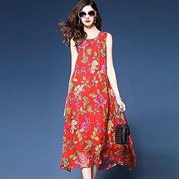 33f80ed2921 JIALELE Mujer Plus Size Boho Gasa Vestidos Sueltos de Giro - Floral,  Elegante Chiffon Imprimir: Amazon.es: Deportes y aire libre