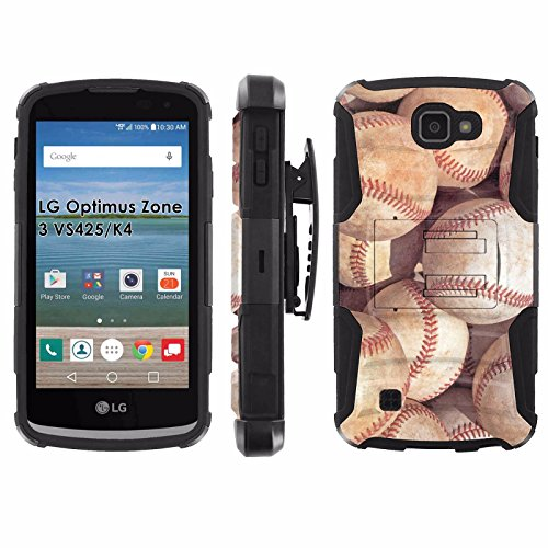 LG Optimus Zone 3 VS425 | K4 Phone Cover, Baseballs- Black Blitz Hybrid Armor Phone Case for [LG Optimus Zone 3 VS425 | K4] with [Kickstand and Holster] (Phone Case Charger Lg Optimus)