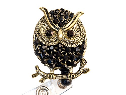 Rhinestone Owl Retractable Badge Reel/ Bling ID Badge Holder (Black)