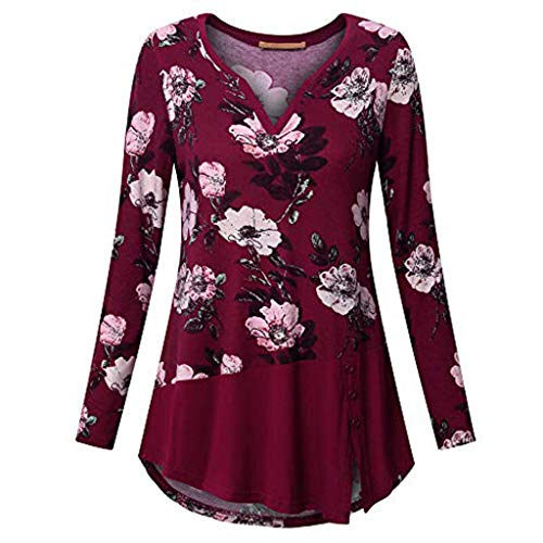 FEITONG Women Plus Size Long Sleeve Floral Print V-neck Button Pullover Tops Shirt(X-Large,Red) (Ring Hipster Side Bottoms)