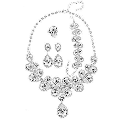 Miraculous Garden Womens Luxury Crystal Rhinestone Jewelry Set Teardrop Earrings Necklace Bracelet Ring Set (White)