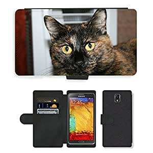 PU LEATHER case coque housse smartphone Flip bag Cover protection // M00130242 Gato Bobtail // Samsung Galaxy Note 3 III N9000 N9002 N9005