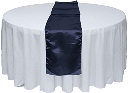 12 X 108 Satin Table Runner For Wedding Party Banquet Rectangular And Round Table By Gw Home 1 Navy Blue