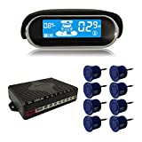 BeneGlow® Dual-core Front and Rear LCD Display Car Vehicle Reverse Backup Radar System with Parking Sensors (8 Sensors, Deep Blue)