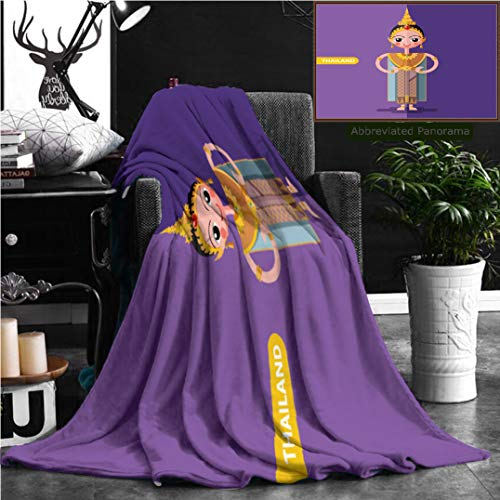 """(Unique Custom Flannel Blankets Thailand National Costumes In Flat Style Super Soft Blanketry for Bed Couch, Throw Blanket 60"""" x)"""