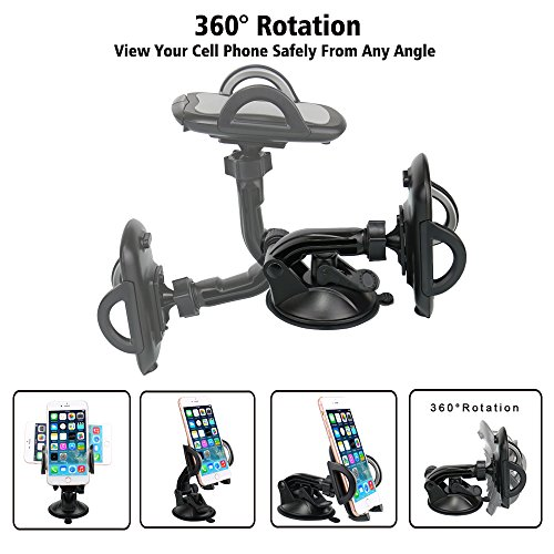 Car Phone Mount,OHLPRO Cell Phone Holder For Car Dash Windshield Dashboard Universal 360°Adjustable Rotating for iPhone Samsung SONY Google All 4''- 6.4'' Smartphones GPS Mobile (Silver) by Ohlpro (Image #4)