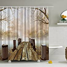 Morning Fog Diffusing Lake Shower Curtain, Old Wood Floor Extending to Moisture Covering Lakeside Leaves Floating on Water Protected by Finder Pine Straying into Fairyland Beautiful Natural Scence Bathroom Decor Curtain