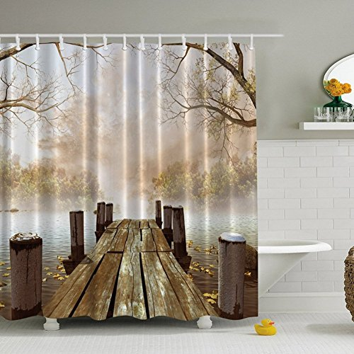 Morning Fog Diffusing Lake Shower Curtain, Old Wood Floor Extending to Moisture Covering Lakeside Leaf Floating on Water Finder Pine Straying into Fairyland Beautiful Scene Bathroom Curtain