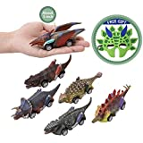 """Dinosaur Pull Back Cars 5"""" Dinosaur Vehicle Set Dino Cars with Wheel Vehicles Car Toy Mini Pull Back Animal Car Toy for 3-14 Year Boys Girls Toddlers,Vehicles for Kids Party Great Gift Favors-7Pack"""