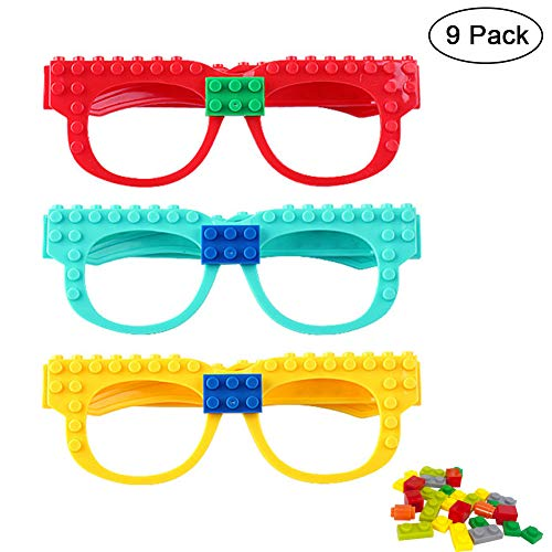 Hokic 9pcs DIY Building Bricks Glasses with Building Blocks for Kids Building Birthday Party Favor Carnival Party Supplies