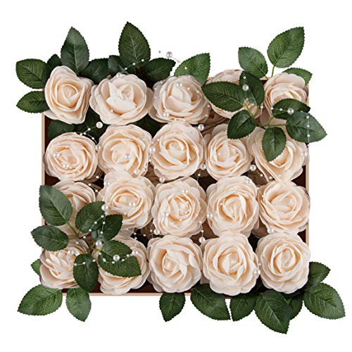 Meiliy 40pcs Artificial Flowers Peony Cream Rose Heads Real Looking Foam Peonies Bulk w/Stem for DIY Wedding Bouquets Boutonnieres Corsages Centerpieces Wreath Supplies Cake Flower Decorations ...
