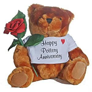 Happy 9th Wedding Anniversary Teddy Bear with Pottery Rose Gift