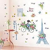 "SWORNA Nature Series Paris Blue Eiffel Tower Street Lamp Flower Butterfly Girl on Bike Removable Vinyl Wall Mural Sticker Decal Decor for Living/Bedroom /Hallway/Kindergarten/Home Office 54""H X 51""W"