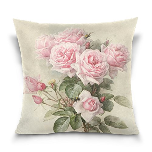 Square Decorative Throw Pillow Case Cushion Cover,Vintage Shabby Chic Pink Rose Floral,Soft Pillowcase - Rose Decorative Pillows