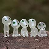 5 Pcs/lot Princess Mononoke Luminous Tree Elves Spirit Kodama Gardening Potted Decoration Micro Landscape Accessories