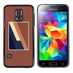 Be Good Phone Accessory // Dura Cáscara cubierta Protectora Caso Carcasa Funda de Protección para Samsung Galaxy S5 Mini, SM-G800, NOT S5 REGULAR! // Brown Lines Frame Blue Minimali