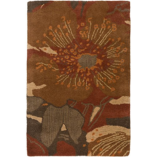 Surya Athena ATH-5102 Transitional Hand Tufted 100% Wool Sepia 2' x 3' Floral Accent Rug ()
