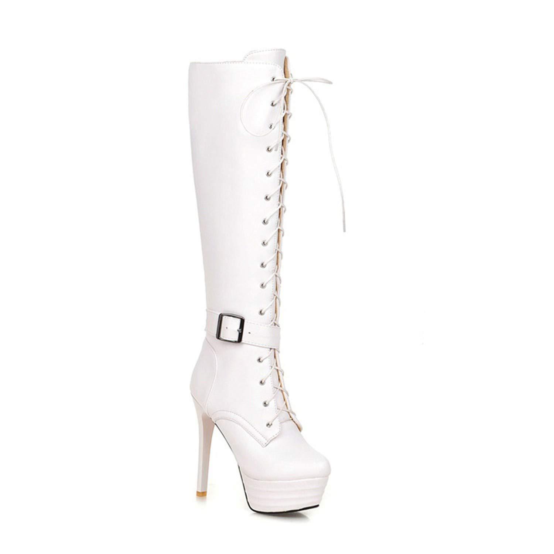 Stivaletti da Donna overheight con Piattaforma Impermeabile Stivali Cavaliere Large Size 40-45 White