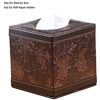 Brown Rattan Wooden PU Leather Tissue Box Cover Paper Holder Decor Classical NEW