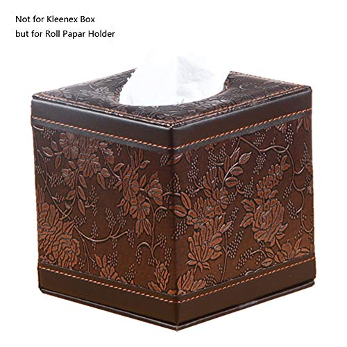 Classic Tissue Holder - PU Leather Square Cube Tissue Box Cover Roll paper Holder for home office Car (Classic Carve)