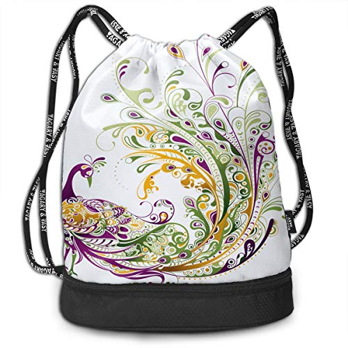 Huangwei Peacock Tattoo Clipart Draw String Bags Shoulder Cinch Storage Bag for Traveling Hiking