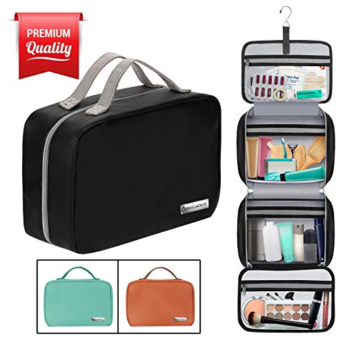 Hanging Travel Toiletry Bag for Women and Men (100% Leak Proof & Doubles as a Cosmetic/Makeup Bag) | Large (34x11) | Clear Pockets | Detachable Compartment | Cruelty-Free Leather | (Black)
