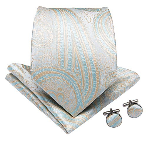 DiBanGu Paisley Tie and Pocket Square Men's Woven Necktie Silk Handkerchief and Cufflink Set (Silk Square Herringbone Pocket)