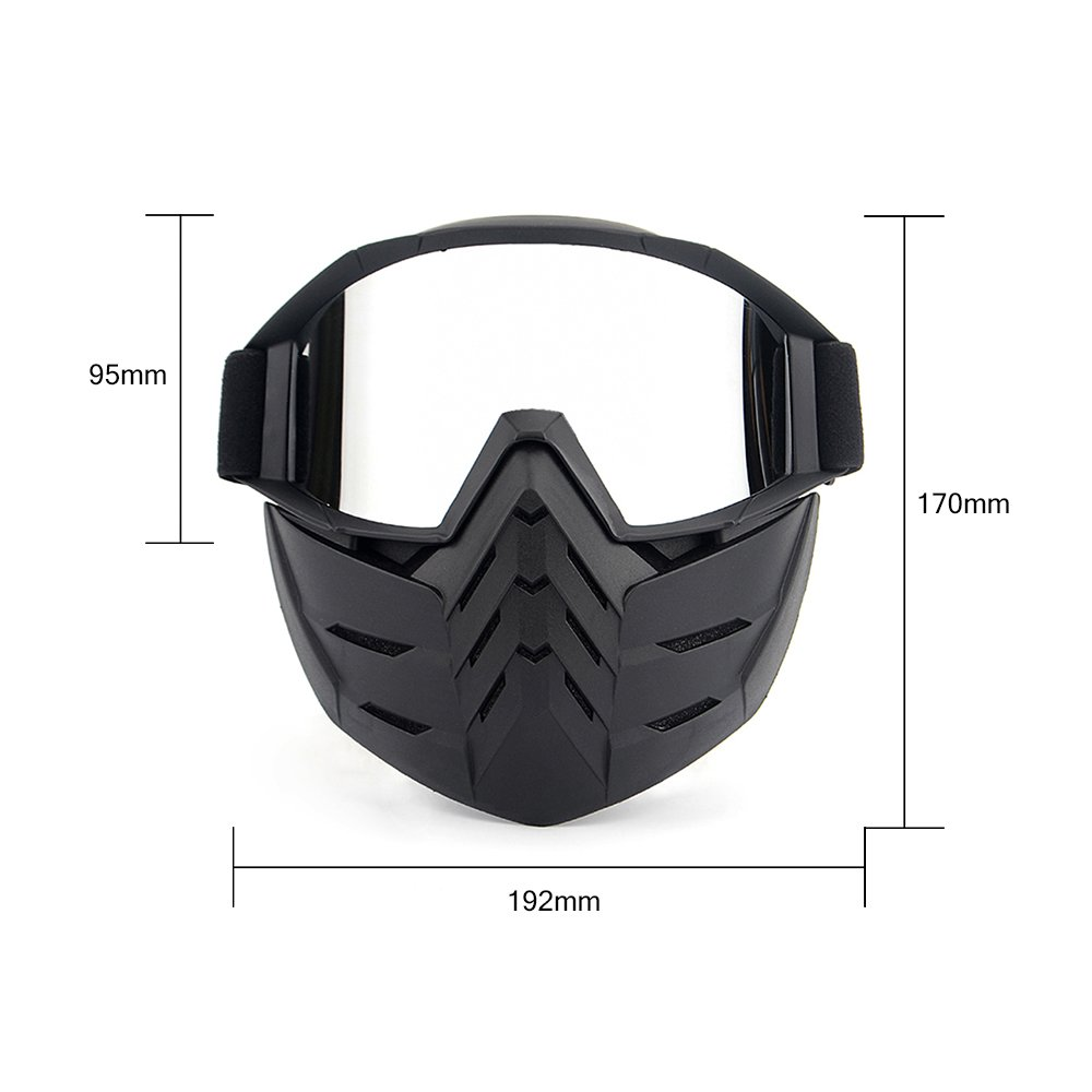 KKmoon Detachable Seat Helmets Vintage Sunglasses Motorcycle Goggles Moto Motocross Goggles Motorcycle Open Face Mask