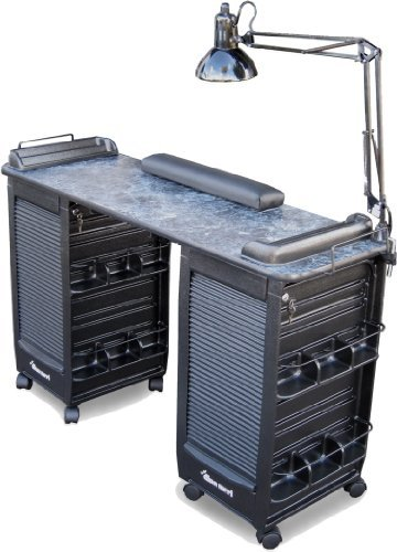 350 Manicure Nail Table Double Lockable Cabinets Black Marble Laminated Top by Dina Meri