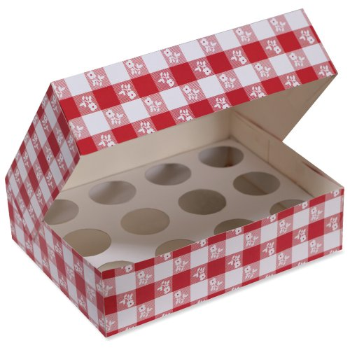 Cupcake Box, Red Gingham (Gingham Favor Boxes)