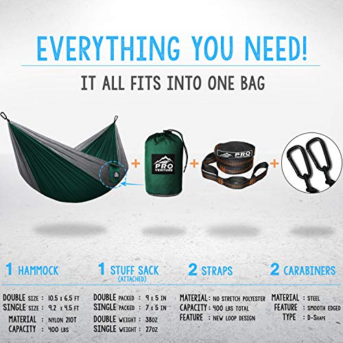 Double and Single Camping Hammocks – Hammock with Free Premium Straps & Carabiners – Lightweight and Compact Parachute Nylon. Backpacker Approved and Ready for Adventure!