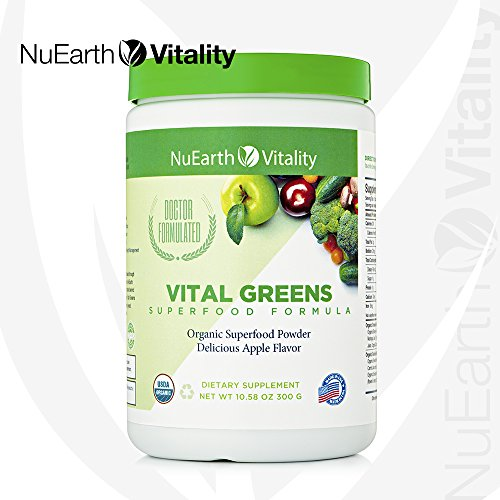 VITAL GREENS – Organic Superfood Powder Detox Formula – Best Tasting Blend of Plants, Fruits Vegetables – All Natural Supplement with Probiotics Enzymes – Antioxidant Anti-inflammatory – 10.58Oz