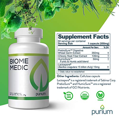 Purium Biome Medic - 60 Vegan Capsules - Gut Health Support Supplement, Removes GMO Toxins, Supports Good Bacteria, Repairs Microbiome - Vegetarian, Gluten Free - 60 Servings by Purium (Image #4)