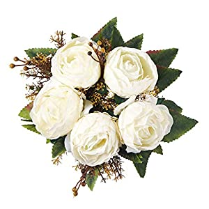 Yoomarket Artificial Flowers Vintage White Silk Flowers Bouquet Babys Breath Fake Flowers DIY Outdoor Wedding Bouquets Centerpieces Arrangements Flowers Party Home Decorations 107