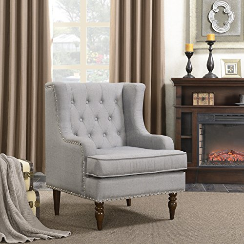 Modern Wing Chairs - Belleze Wingback Chair with Arms Classic Button Tufted Traditional Ergonomic Cushioned Club Seat Nailhead Trim, Gray