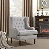 Belleze Wingback Chair with Arms Classic Button Tufted Traditional Ergonomic Cushioned Club Seat Nailhead Trim, Gray