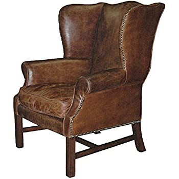 Gaston Rustic Lodge Aged Leather Wingback Library Arm Chair
