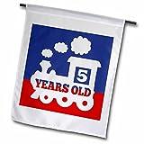 3dRose Janna Salak Designs Kids Stuff - Train 5 Years Old Birthday Boy - 18 x 27 inch Garden Flag...
