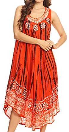 Sakkas 15009 - Alexis Embroidered Long Sleeveless Floral Caftan Dress/Cover up - Burnt Orange - OS