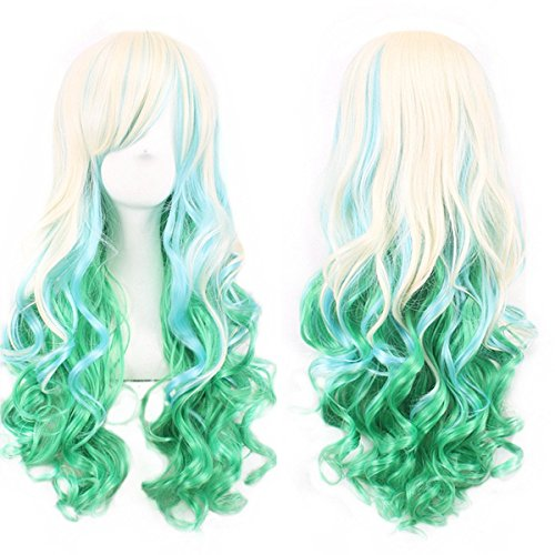 Long Curly Hair Wigs for Women Beige / Light Green Wig with Bangs BU036C]()