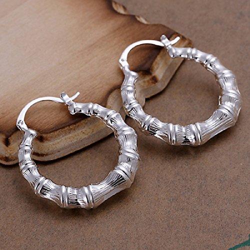 Bamboo Pattern Earrings (CY-Buity Korean Style Bamboo Patterns Hoop 925 Silver Plated Earring Ear Drop for)